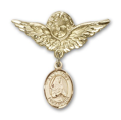 Pin Badge with St. Emily de Vialar Charm and Angel with Larger Wings Badge Pin - 14K Yellow Gold