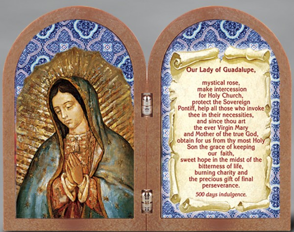Our Lady of Guadalupe Diptych Standing Prayer Plaque - Full Color