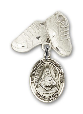 Pin Badge with St. Edburga of Winchester Charm and Baby Boots Pin - Silver tone