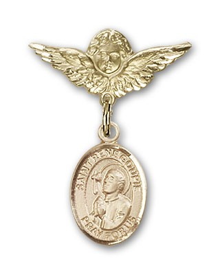 Pin Badge with St. Rene Goupil Charm and Angel with Smaller Wings Badge Pin - 14K Solid Gold