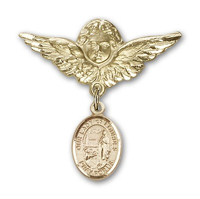 Pin Badge with Our Lady of Lourdes Charm and Angel with Larger Wings Badge Pin - 14K Yellow Gold