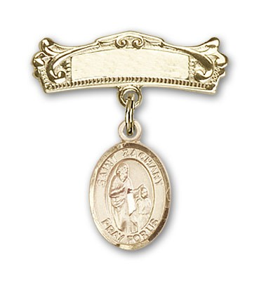 Pin Badge with St. Zachary Charm and Arched Polished Engravable Badge Pin - Gold Tone