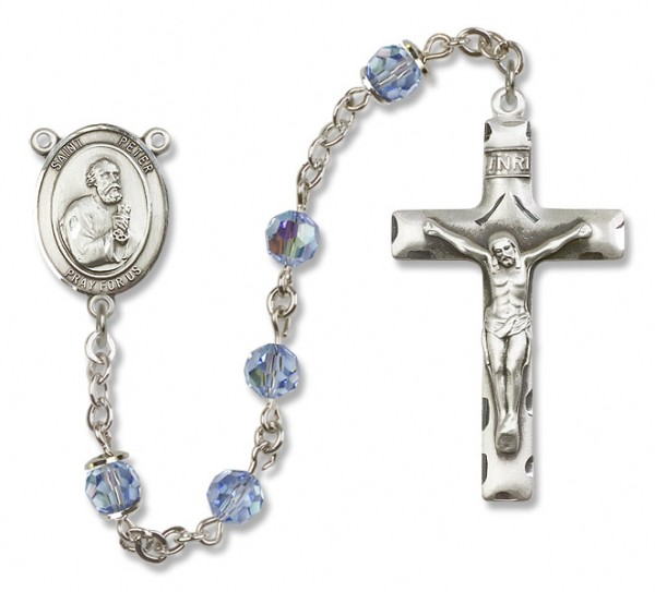 St. Peter the Apostle Sterling Silver Heirloom Rosary Squared Crucifix - Light Sapphire