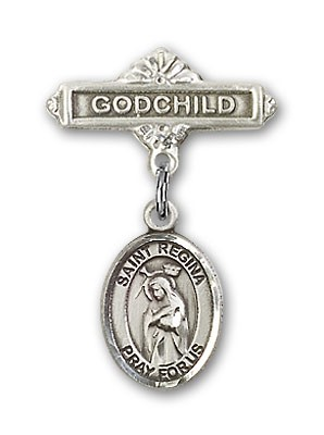 Pin Badge with St. Regina Charm and Godchild Badge Pin - Silver tone