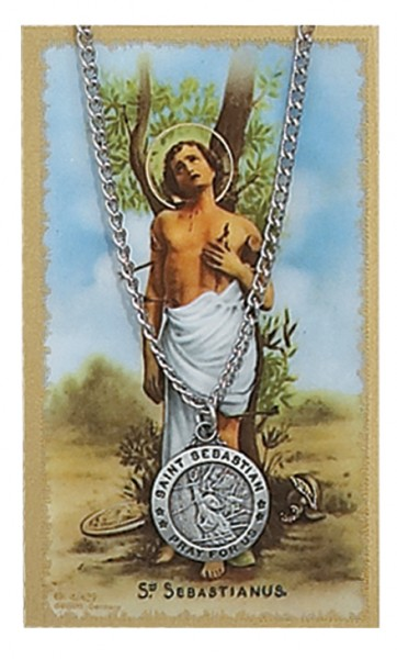 Round St. Sebastian Medal with Prayer Card - Silver tone
