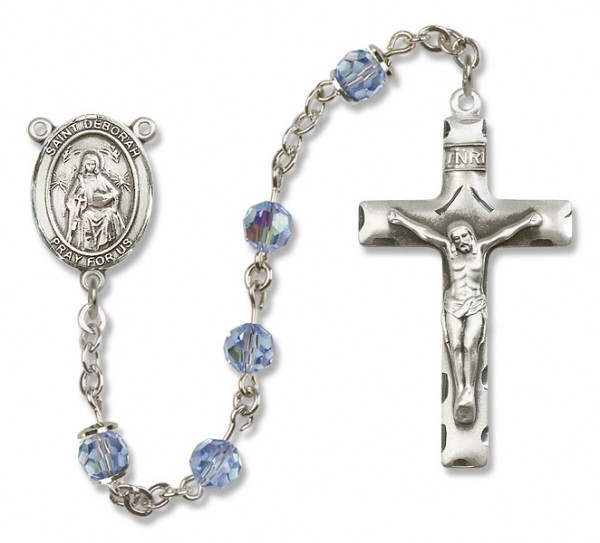 St. Deborah Sterling Silver Heirloom Rosary Squared Crucifix - Light Sapphire