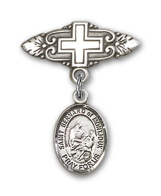 Pin Badge with St. Bernard of Montjoux Charm and Badge Pin with Cross - Silver tone