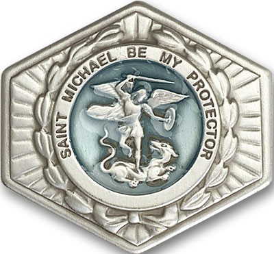 St. Michael the Archangel Visor Clip - Blue | Silver