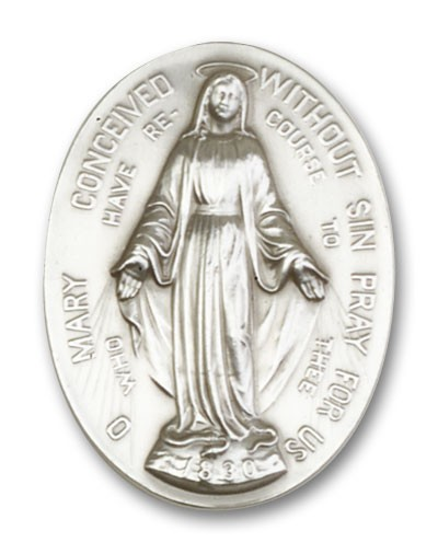Immaculate  Conception Visor Clip - Antique Silver