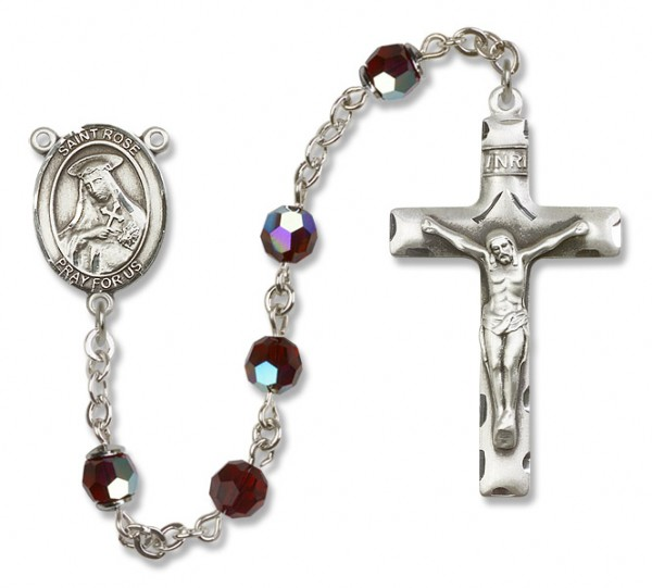 St. Rose of Lima Sterling Silver Heirloom Rosary Squared Crucifix - Garnet