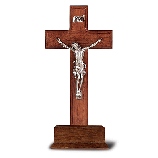 Salerini Standing Walnut Crucifix with Silver-tone Corpus - 10 inch - Brown