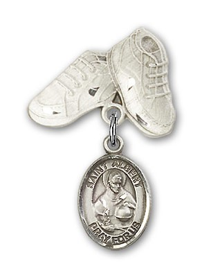 Pin Badge with St. Albert the Great Charm and Baby Boots Pin - Silver tone
