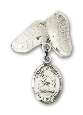 Pin Badge with St. Joshua Charm and Baby Boots Pin - Silver tone