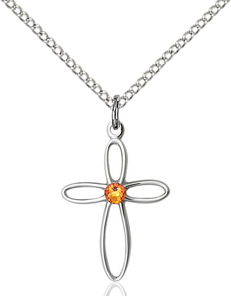 Cut-Out Cross Pendant with Birthstone Options - Topaz