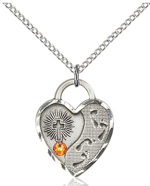 Heart Shaped Footprints Pendant with Birthstone Options - Topaz