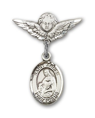 Pin Badge with St. Agnes of Rome Charm and Angel with Smaller Wings Badge Pin - Silver tone