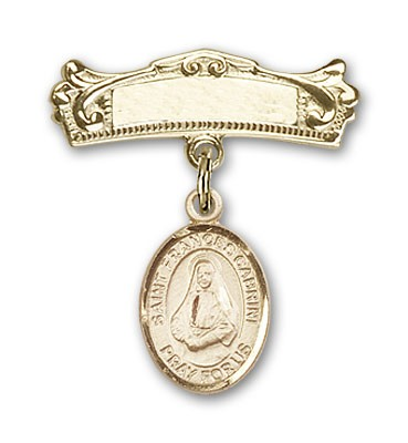 Pin Badge with St. Frances Cabrini Charm and Arched Polished Engravable Badge Pin - Gold Tone
