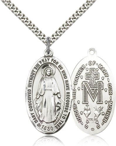 Men's Classic Oval Miraculous Medal - Sterling Silver