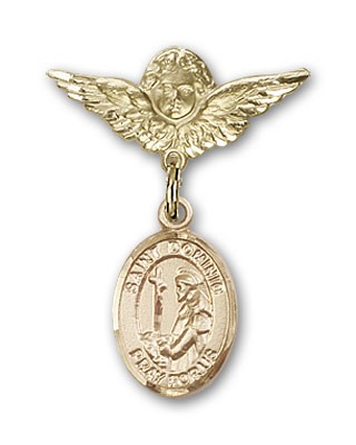 Pin Badge with St. Dominic de Guzman Charm and Angel with Smaller Wings Badge Pin - 14K Solid Gold