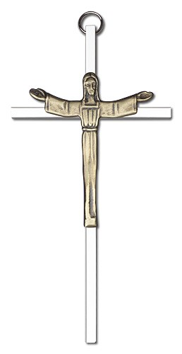 "Contemporary Risen Christ Wall Crucifix 6"" - Two-Tone Silver"