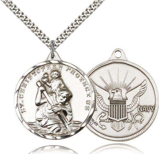 St. Christopher Navy Medal with Eagle - Sterling Silver