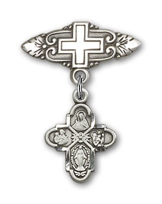 Pin Badge with 4-Way Charm and Badge Pin with Cross - Silver tone