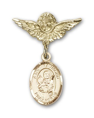 Pin Badge with St. Raymond Nonnatus Charm and Angel with Smaller Wings Badge Pin - 14K Solid Gold