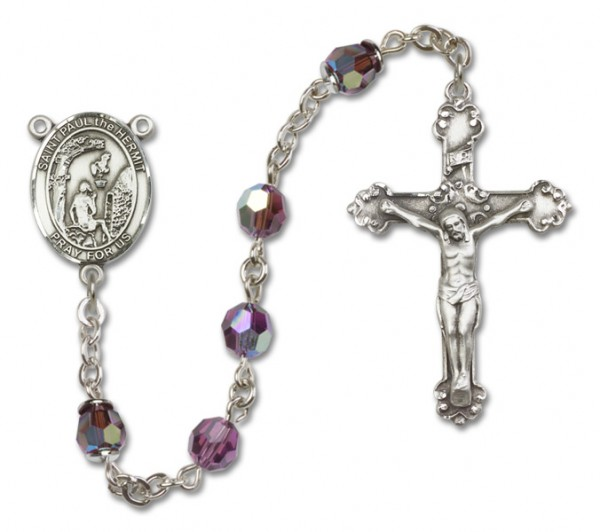 Paul the Hermit Sterling Silver Heirloom Rosary Fancy Crucifix - Amethyst