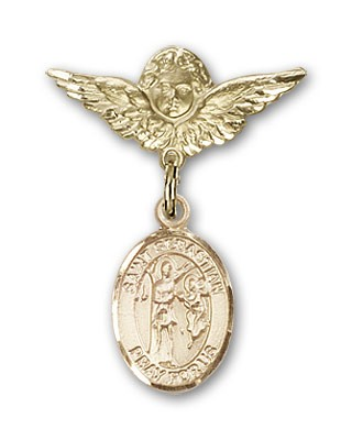 Pin Badge with St. Sebastian Charm and Angel with Smaller Wings Badge Pin - 14K Solid Gold
