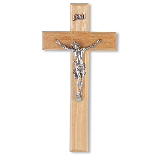 Simple Oak Wood Wall Crucifix - 10 inch - Brown