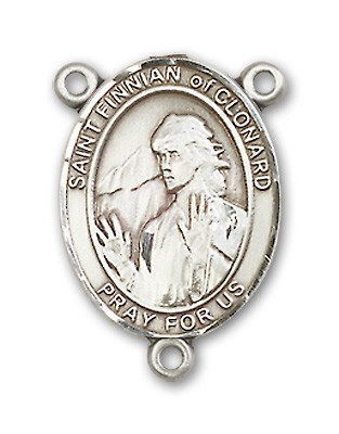 St. Finnian of Clonard Rosary Centerpiece Sterling Silver or Pewter - Sterling Silver