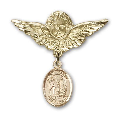 Pin Badge with St. Fiacre Charm and Angel with Larger Wings Badge Pin - 14K Yellow Gold