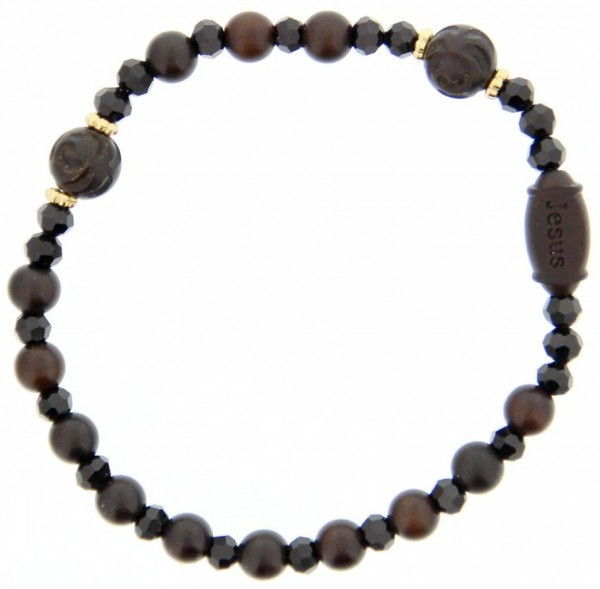 Jujube Rose Wood Rosary Bracelet - 6mm - Brown