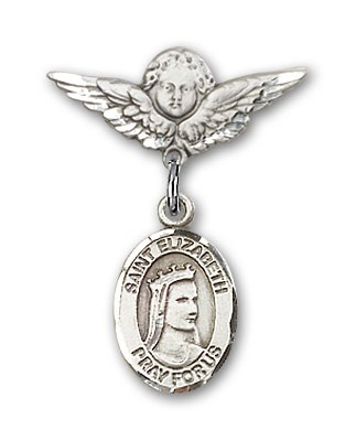 Pin Badge with St. Elizabeth of Hungary Charm and Angel with Smaller Wings Badge Pin - Silver tone