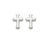 Beveled Cross Shaped Earrings - Silver