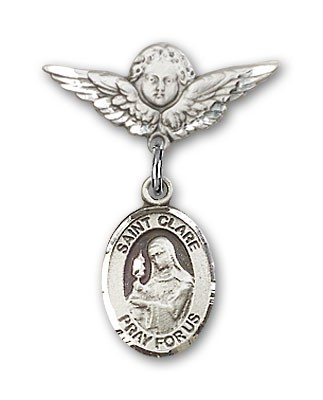 Pin Badge with St. Clare of Assisi Charm and Angel with Smaller Wings Badge Pin - Silver tone