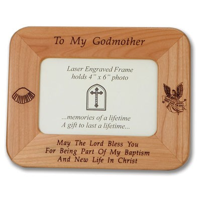 "Maple Wood ""Godmother"" Photo Frame   - Light Brown"