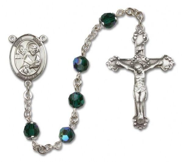 St. Mark the Evangelist Sterling Silver Heirloom Rosary Fancy Crucifix - Emerald Green