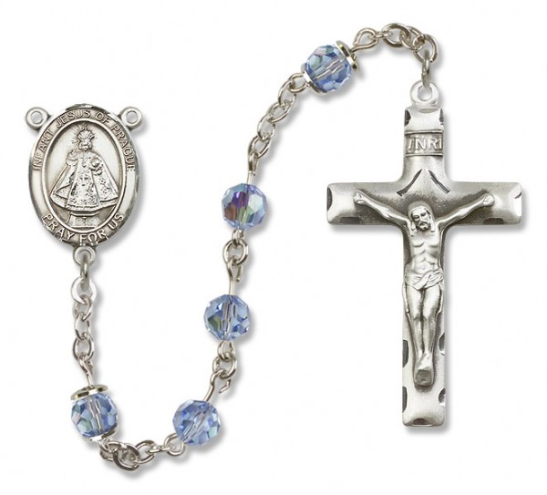 Infant of Prague Rosary Heirloom Squared Crucifix - Light Sapphire