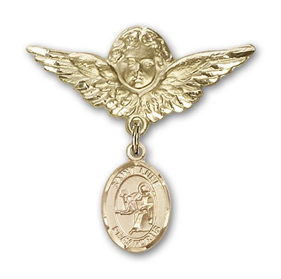 Pin Badge with St. Luke the Apostle Charm and Angel with Larger Wings Badge Pin - Gold Tone