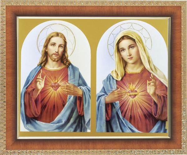 Sacred Heart of Jesus and Immaculate Heart of Mary Framed Print - #122 Frame