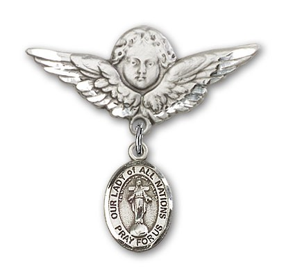 Pin Badge with Our Lady of All Nations Charm and Angel with Larger Wings Badge Pin - Silver tone