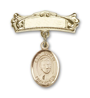 Pin Badge with St. Eugene de Mazenod Charm and Arched Polished Engravable Badge Pin - 14K Solid Gold