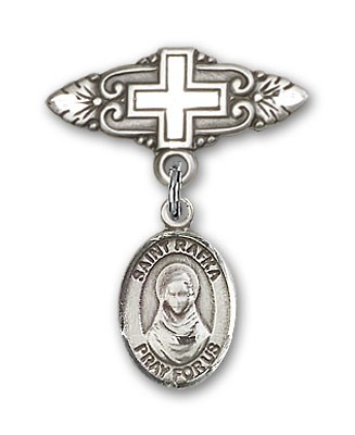 Pin Badge with St. Rafka Charm and Badge Pin with Cross - Silver tone