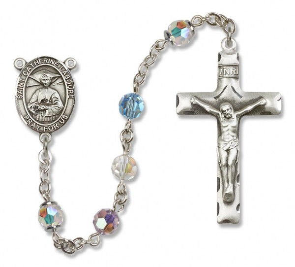St. Catherine Laboure Sterling Silver Heirloom Rosary Squared Crucifix - Multi-Color