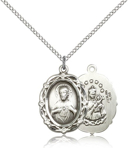 Women's Double Sided Crown of Thorns Scapular Necklace - Sterling Silver