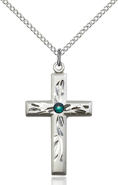 Squared Edge Cross with Vine Etching with Birthstone Options - Emerald Green