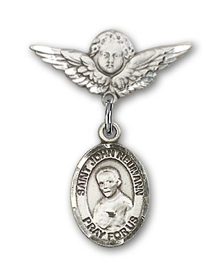 Pin Badge with St. John Neumann Charm and Angel with Smaller Wings Badge Pin - Silver tone