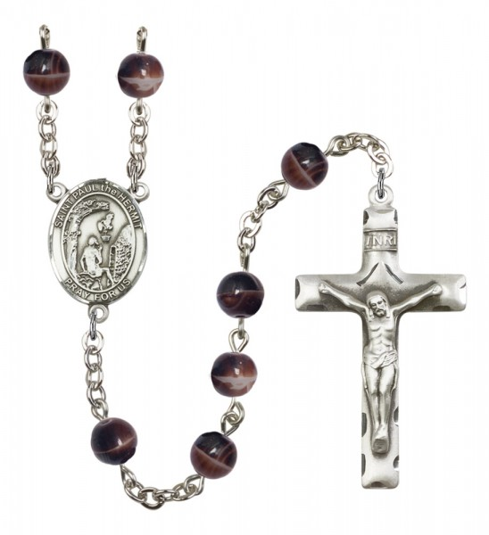Men's St. Paul the Hermit Silver Plated Rosary - Brown