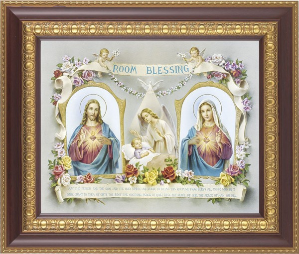 Room Blessing Framed Print with Sacred Heart and Immaculate Heart - #126 Frame